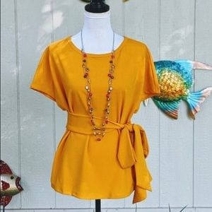 New Beautiful Belted Tie Blouse